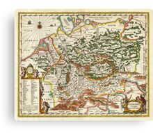 1657 Jansson Map of Germany Germania Geographicus Germaniae jansson 1657 Canvas Print