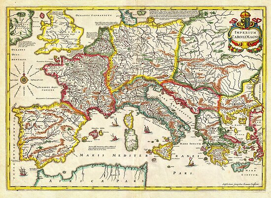 1657 Jansson Map of the Empire ofCharlemagne Geographicus CaroliMagni jansson 1657 by MotionAge Media
