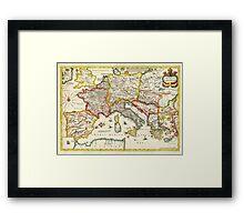 1657 Jansson Map of the Empire ofCharlemagne Geographicus CaroliMagni jansson 1657 Framed Print