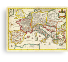 1657 Jansson Map of the Empire ofCharlemagne Geographicus CaroliMagni jansson 1657 Canvas Print