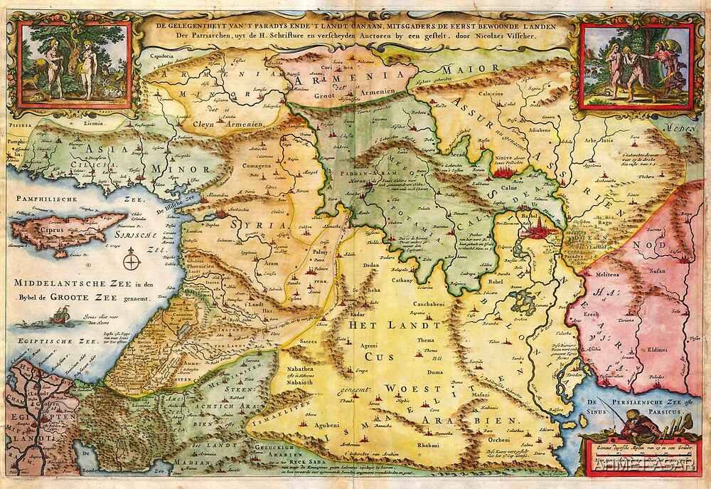 1657 Visscher Map of the Holy Land or the Earthly Paradise Geographicus Gelengentheyt visscher 1657 by Adam Asar