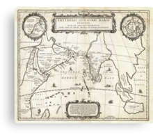 1658 Jansson Map of the Indian Ocean Erythrean Sea in Antiquity Geographicus ErythraeanSea jansson 1658 Canvas Print
