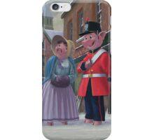 romantic victorian pigs in snowy street iPhone Case/Skin