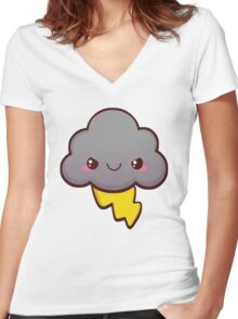Stormy Cloud Women's Fitted V-Neck T-Shirt