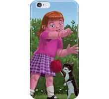 cat and girl playing iPhone Case/Skin