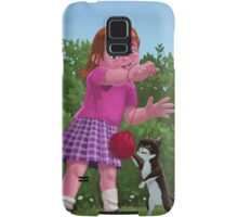 cat and girl playing Samsung Galaxy Case/Skin