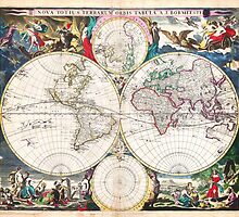 1685 Bormeester Map of the World Geographicus TerrarumOrbis bormeester 1685 by Adam Asar