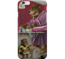 front room bear family with son playing computer game iPhone Case/Skin