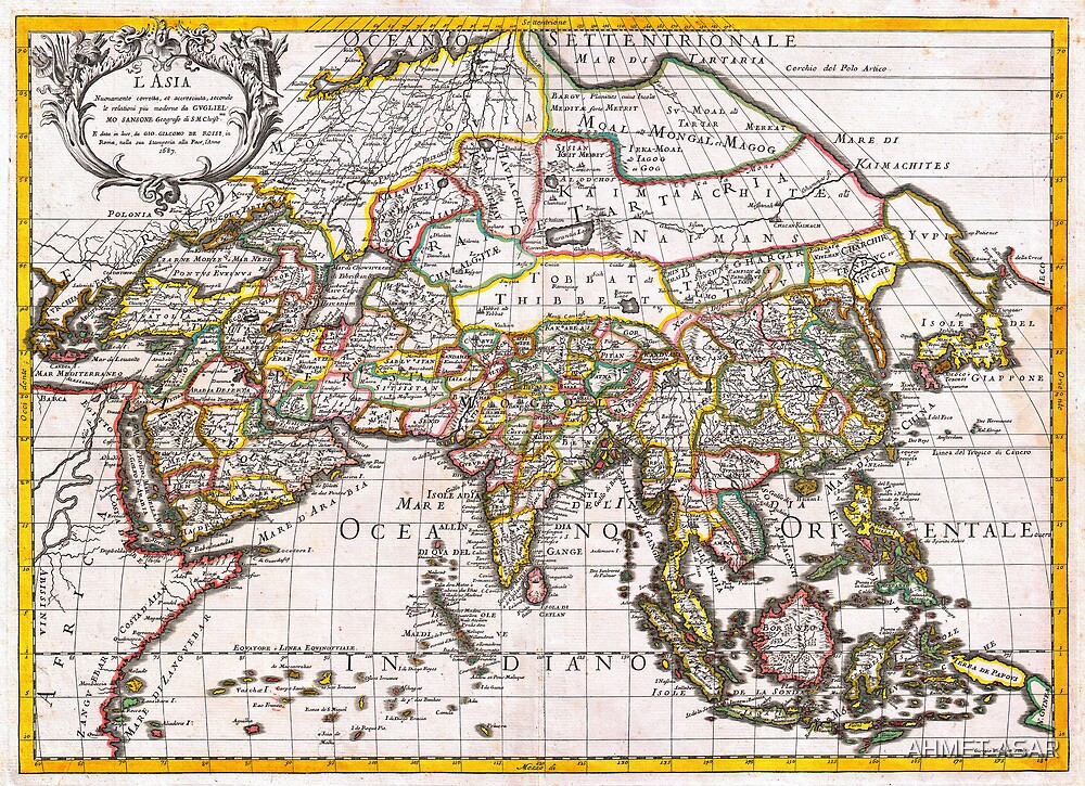 1687 Sanson Rossi Map of Asia Geographicus Asia rossi 1697 by Adam Asar