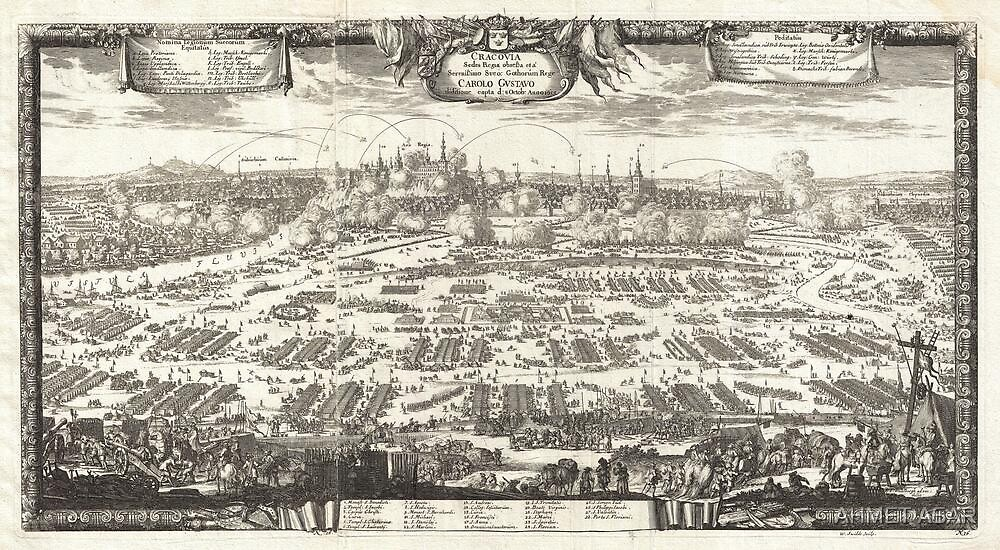 1697 Pufendorf View of Krakow (Cracow) Poland Geographicus Krakow pufendorf 1655 by Adam Asar