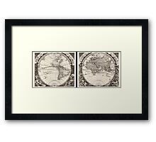 1696 Zahn Map of the World in Two Hemispheres Geographicus World zahn 1696 Framed Print