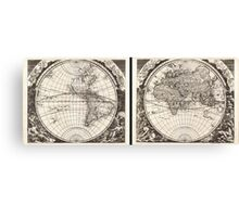 1696 Zahn Map of the World in Two Hemispheres Geographicus World zahn 1696 Canvas Print