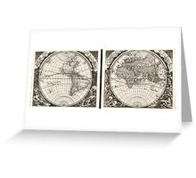 1696 Zahn Map of the World in Two Hemispheres Geographicus World zahn 1696 Greeting Card