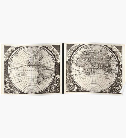 1696 Zahn Map of the World in Two Hemispheres Geographicus World zahn 1696 Poster