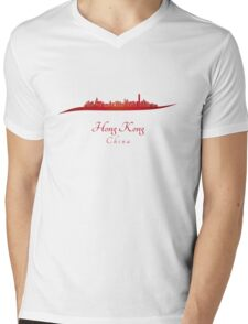 Hong Kong skyline in red Mens V-Neck T-Shirt