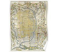 1696 Genroku 9 (early Edo) Japanese Map of Kyoto Japan Geographicus Kyoto genroku9 1696 Poster
