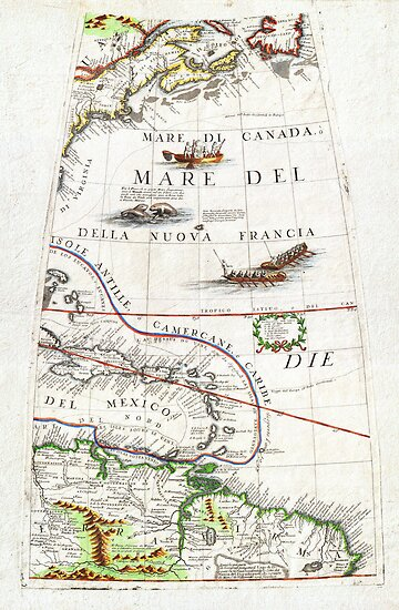 1688 Coronelli Globe Gore Map of NE North America the WestIndies and NE South America Geographicus NEAmericaGore coronelli 1688 by MotionAge Media