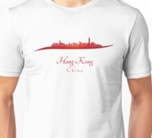 Hong Kong skyline in red and gray background Unisex T-Shirt