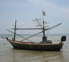 Anchored Boat - Hua Hin, Thailand by M-EK