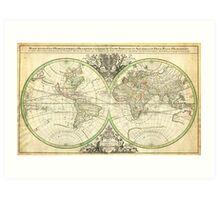 1691 Sanson Map of the World on Hemisphere Projection Geographicus World2 sanson 1691 Art Print