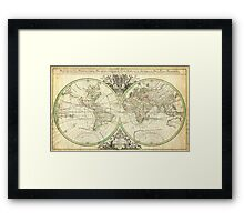 1691 Sanson Map of the World on Hemisphere Projection Geographicus World2 sanson 1691 Framed Print