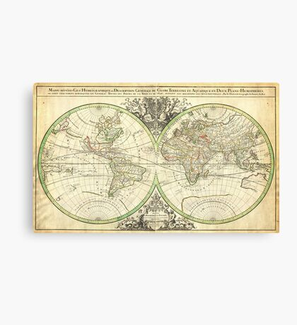 1691 Sanson Map of the World on Hemisphere Projection Geographicus World2 sanson 1691 Canvas Print