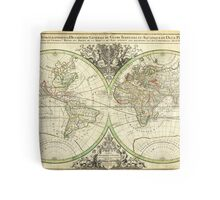 1691 Sanson Map of the World on Hemisphere Projection Geographicus World2 sanson 1691 Tote Bag