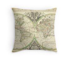 1691 Sanson Map of the World on Hemisphere Projection Geographicus World2 sanson 1691 Throw Pillow