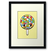 Kawaii Rainbow Lollipop Framed Print