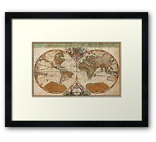1691 Sanson Map of the World on Hemisphere Projection Geographicus World sanson 1691 Framed Print