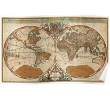 1691 Sanson Map of the World on Hemisphere Projection Geographicus World sanson 1691 Poster