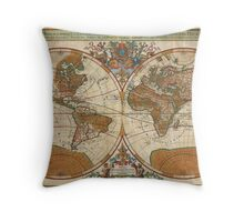 1691 Sanson Map of the World on Hemisphere Projection Geographicus World sanson 1691 Throw Pillow