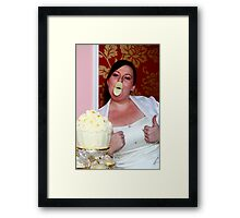 give us a kiss beautiful bride Framed Print