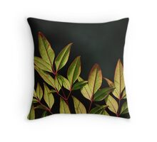 Red Stem Greenery Throw Pillow