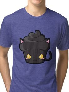 Spooky Cupcake - Black Cat Tri-blend T-Shirt
