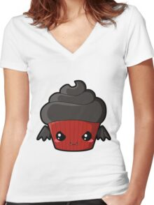 Spooky Cupcake - Vampire Women's Fitted V-Neck T-Shirt