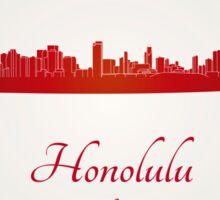 Honolulu skyline in red Sticker