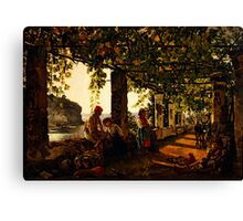 a veranda overgrown with grape vines Canvas Print