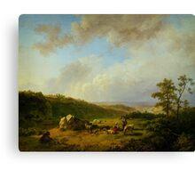 Barend Cornelis Koekkoek Landschap bij opkomende regenbui Canvas Print