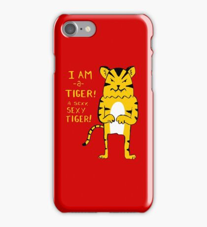 Sexy Tiger - funny cartoon illustration with typography in pink (?) iPhone Case/Skin