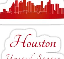 Houston skyline in red Sticker