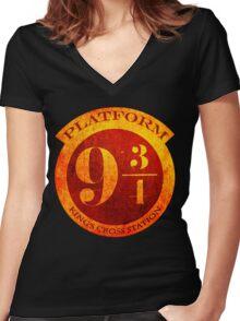 Platform 9 3/4 Women's Fitted V-Neck T-Shirt