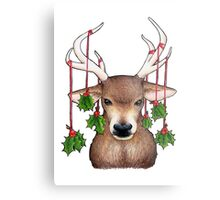 Stag with Holly Metal Print