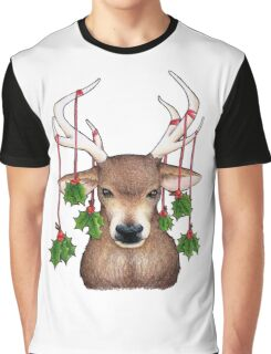 Stag with Holly Graphic T-Shirt