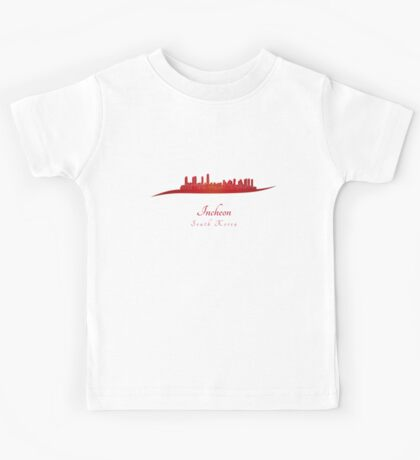 Incheon skyline in red Kids Tee