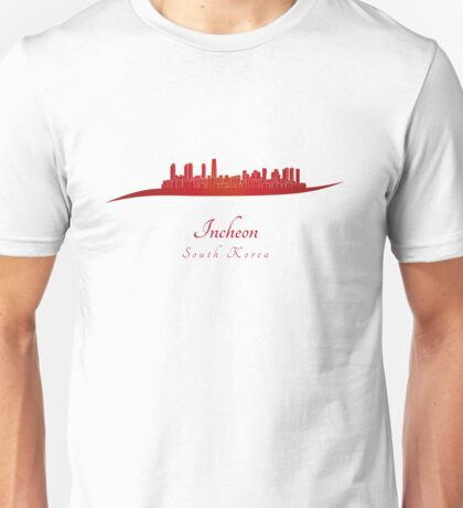 Incheon skyline in red Unisex T-Shirt