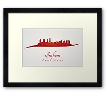 Incheon skyline in red Framed Print