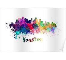 Houston skyline in watercolor Poster