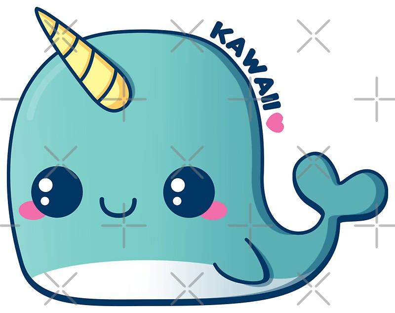 Quot Kawaii Blue Narwhal Quot Stickers By Pai Thagoras Redbubble