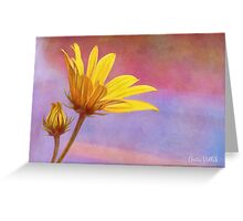 Painted Swamp Sunflower and Bud Along the Fence Greeting Card